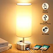 Touch Control Table Lamp with 2 Fast Charging USB Ports and Power Outlet, 3-way Dimmable Lamp Modern Bedside Lamp Nightstand