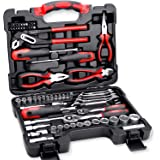TOPEX 65-Piece Household Hand Tool Set Home Toolbox Auto Repair Kit Premium Quality