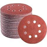 S SATC 72 PCS 5 Inch 8 Hole Hook and Loop Adhesive Sanding Discs Sandpaper for Random Orbital Sander 40 60 80 120 180 240 320