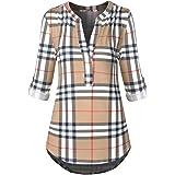 Le Vonfort Women's Henley V Neck 3/4 Roll Sleeve Button Down Tunic Blouse Shirt