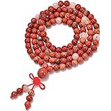 AD Beads Natural Gemstones Buddhist 108 Prayer Healing Beads Mala Stretchy Bracelet Necklace 6mm (Red Jasper)