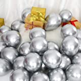 100 Pieces 5 Inch Metallic Balloons Decorative Latex Balloons for Birthday Wedding Engagement Festival Party Decorations (Sil