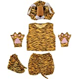 動物衣装キット子供 キッズ  帽子 シャツ ショートパンツ 手袋 靴 コスチューム - 虎