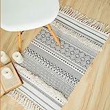 Seavish Tufted Cotton Area Rug,2X 3 Bohemia Geometric Hand Woven Fringe Throw Rug Shag Accent Tassel Rug for Living Room Bedr