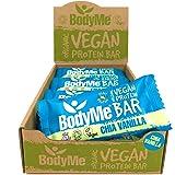 BodyMe Organic Vegan Protein Bar | Raw Chia Vanilla | 12 x 60g Vegan Protein Snack Bars | Gluten Free | 16g Complete Protein