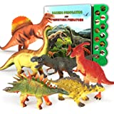 OleFun Dinosaur Toys for 3 Years Old & Up - Dinosaur Sound Book & 12 Realistic Looking Dinosaurs Figures Including T-Rex, Tri