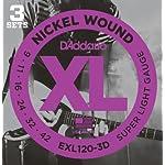 D'Addario ダダリオ エレキギター弦 ニッケル SuperLight .009-.042 EXL120-3D 3set入りパック 【国内正規品】