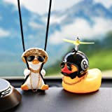 Swinging Duck Car Hanging Ornament Rubber Duck Toy Car Ornament with Propeller Helmet Swing Duck Car Rear View Mirror Pendant