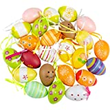 """ANPHSIN 24 Pcs Multicolored Plastic Easter Egg Hanging Ornament- 2.3"""" Decorative Hand Painted Eggs DIY Crafts Ornaments with"""
