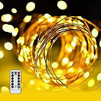 LED イルミネーションライトurlife LEDストリングスライト 100球 10m 8種光るパターン 電池式 水を防…