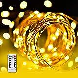 LED イルミネーションライトurlife LEDストリングスライト 100球 10m 8種光るパターン 電池式 水を防ぎ フェアリーライト タイム設定付 調光可能 リモコン付属 屋内・屋外兼用 新年 バレンタインデー 贈り物 (銅線ウォームホワイト