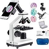 Microscope 100X-2000X Compound Monocular Microscopes with Mechanical Platform, Dual Illumination,Smartphone Holder, 10 PCS Mi