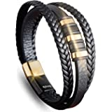 My Strong Stylish Handmade Leather Bracelet with Magnetic Clasp Stainless Steel   Fashion Multi-Layer Leather Cuff Bracelet w