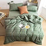 MKXI Green and Gray Geometric Duvet Cover Simple Stripes King Bed Set for Men Soft 3 Piece Bedding Comforter Cover Zipper Clo