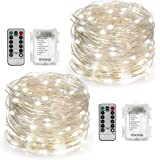 YIHONG 2 Set String Lights 8 Modes 50LED Fairy Lights Battery Operated 16.4FT Twinkle Firefly Lights with Remote Timer for Be