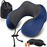 Cloudsky Travel Neck Pillow, Soft and Comfortable Memory Foam Neck Cushion, Machine Washable 100% Cotton Cover for Travelling