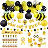 Bee Baby Shower Decorations (69 Pieces), Complete Bumble Bee Decor Set with Bee Balloon Garland Kit, What Will It Bee Banner,