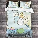 すみっコぐらし 布団カバー 3点セット 寝具カバー 枕カバー ベッドカバー 無地 肌にやさしい 四季通用 高密度 寝具用…