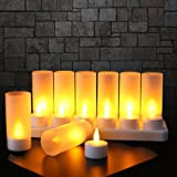 Flameless Candles with Rechargeable Base Led Candles Flickering LED Tea Lights Unscented Tealight Warm White Plastic Realisti