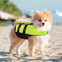 PETLESO 犬ライフジャケット 救命胴衣 空気バッグ式犬ライフジャケット ペット水泳補助具 サイズ調節可能、用 Sサ…