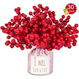 Lvydec 30pcs Artificial Red Berry Picks - Christmas Holly Berry Branches Red Berry Stems for Holiday Home Decor and Crafts