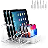 SooPii Premium 6-Port USB Charging Station Organizer for Multiple Devices, 6 Apple Charging Cables Included, for Phones, Tabl