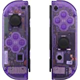 eXtremeRate Transparent Clear Purple Joycon Handheld Controller Housing with Full Set Buttons, DIY Replacement Shell Case for