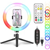 Neewer 10-inch RGB Ring Light Selfie Light Ring with Tripod Stand & Phone Holder, Remote Control, Dimmable LED Desk Ringlight