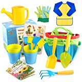 INNOCHEER Kids Gardening Tools with STEM Learning Guide, Watering Can, Gardening Gloves, Shovel, Rake, Trowel & Garden Access