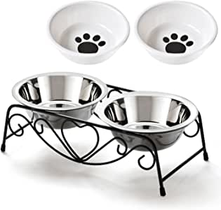 SuperSunny ペットボウルスタンドセット ステンレス製 えさ入れ ごはん皿 お水入れ 猫 犬