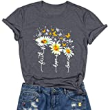 SRHJOPNFR Sunflower Butterfly Print T Shirt Womens Summer Casual Short Sleeve Shirts