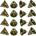 Maydahui 20PCS Bronze Small Jingle Bells Vintage Brass Color Mini (1.7 X 1.5 inch) for Wedding, Doors, Dog Collar, Jewelry,Se