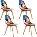 Artiss Eames Dining Chairs Set of 4 Fabric Upholstered Plastic Side Chairs 40 x 47 x 82cm