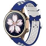 【Amazon限定ブランド】XIHAMA For Nokia Withings スチール hr Watch Band 18MM 交換ベルト 防水 運動型 シリコーンゴム 腕時計 ストラップ 替えバンド (青/白)