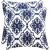 SLOW COW Cotton Embroidery Decorative Cushion Covers, Navy Blue Bohemian Flower Throw Pillow Covers 18 x18 inches, Pack of 2.