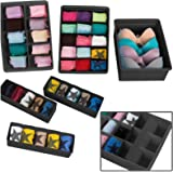 Uncluttered Designs Adjustable Drawer Organizers (6 Set) with Customizable Dividers in Stackable Durable Plastic for Underwea