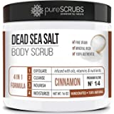 pureSCRUBS Premium Organic Body Scrub Set - Large 16oz CINNAMON BODY SCRUB - Dead Sea Salt Infused Organic Essential Oils & N