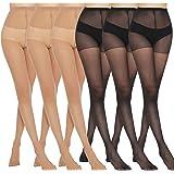 Manzi 6 Pairs 20D Women's Sheer Tights Ultra Thin High Waist Pantyhose Thigh High Stockings