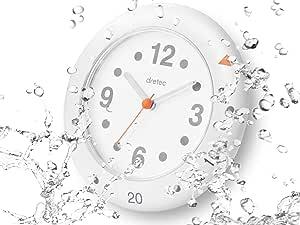 dretec(ドリテック) 半身浴クロック お風呂時計 防滴 アナログ 置き時計 吸盤 フック おふろクロック C-111WT ホワイト
