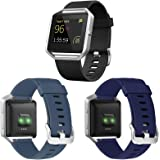 eseekgo 3-Pack Compatible with Fitbit Blaze Bands for Men Women, Silicone Sport Band with 1 Pcs Metal Frame Compatible with F