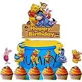Set of Acrylic Winnie The Pooh Happy Birthday Cake Topper, Winnie The Pooh Inspired Cake Smash Topper, Kids Birthday Party Su