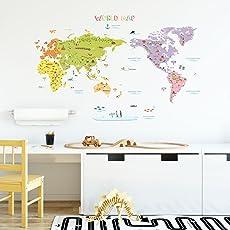 DECOWALL カラフルな世界地図 ウォール ステッカー デコ(1306N 1616/S)