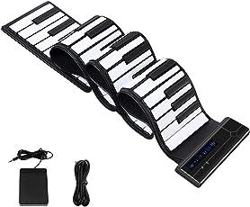 YOI Vocal MIDIキーボード 電子ピアノ 88鍵盤 ハンドロールピアノ フットペダル付き シリコン製 Bluetooth機能 128種類音色 14曲模範曲 128種リズム イヤホン/スピーカー対応 マイク内蔵 携帯用キーボード 編曲 練習用 演奏 子供 (8月新型,88鍵)