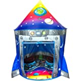 Rocket Ship Kids Play Tent | Unique Space and Planet Design Tent for Boys and Girls | Indoor and Outdoor Imaginative Activiti