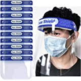 Suimiki 10pcs Transparent Safety Face Shield, Reusable Protective Shield Cover Visor, Anti-Saliva Double-Sided Anti-fog Dust-