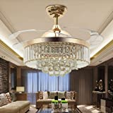 """42"""" Reversible Ceiling Fans Chandeliers Modern Retractable Ceiling Fan with LED Light and Remote, Invisible Crystal Ceiling f"""