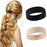 2 Packs of Silicone Foldable Hair Tie,Hair Accessories Donut Hairpin,Multifunction Stationarity Hairband Elastic Rubber Bands