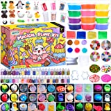 HSFTILV Super Slime Kit Supplies-12 Crystal Clear Slimes with 54 Packs Glitter Sheet Jars, 3 Jelly Cubes,4 Pcs Fruit Slices,1