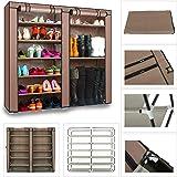 OZSTOCK 2 Doors Cover Shoe Rack 7 Tier Shoes Cabinet Storage Organizer (Coffee)