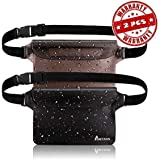 Portzon Waterproof Pouch, Fanny Pack, Dry Bag Pouch with Waist Strap, 3 Zipper Design Perfect for Boating Swimming Snorkeling